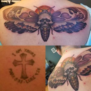 bohemian tattoo old cross covered with death head moth