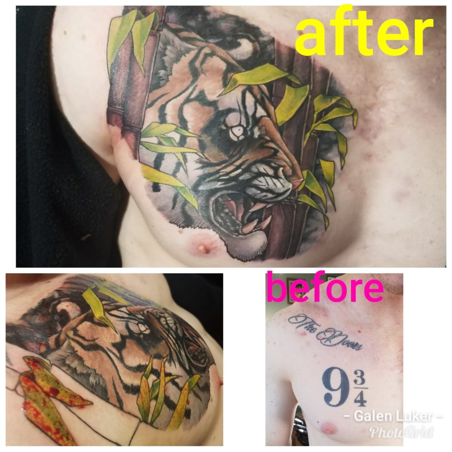 Color cover up tattoo